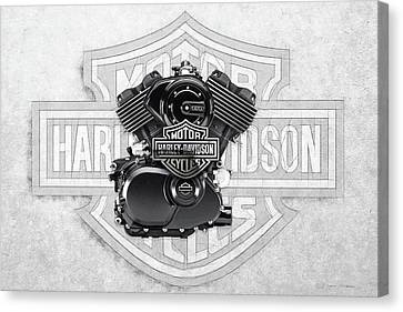 Canvas Print featuring the digital art 2015 Harley-davidson Street-xg750 Engine With 3d Badge  by Serge Averbukh