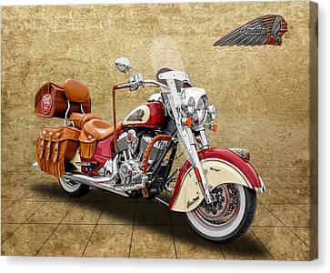2015 Indian Chief Vintage Motorcycle - 1 Canvas Print by Frank J Benz