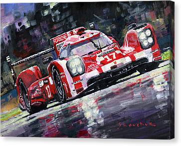 Hybrid Canvas Print - 2015 Le Mans 24h Porsche 919 Hybrid by Yuriy Shevchuk