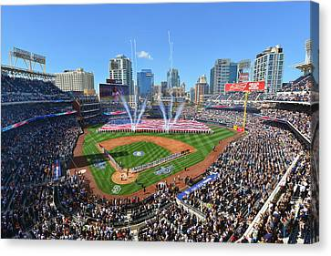 San Diego California Baseball Stadiums Canvas Print - 2015 San Diego Padres Home Opener by Mark Whitt