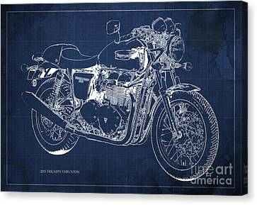 2015 Triumph Thruxton Blueprint Blue Background Canvas Print by Pablo Franchi