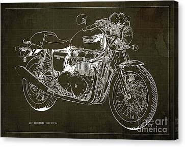 2015 Triumph Thruxton Blueprint Brown Background Canvas Print by Pablo Franchi