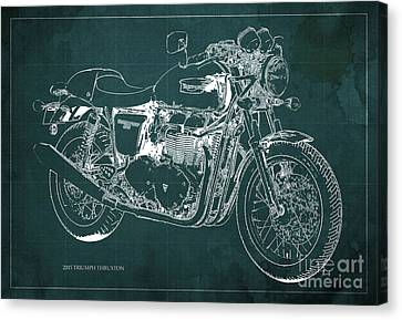 2015 Triumph Thruxton Blueprint Green Background Canvas Print by Pablo Franchi