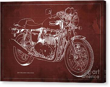 2015 Triumph Thruxton Blueprint Red Background Canvas Print by Pablo Franchi