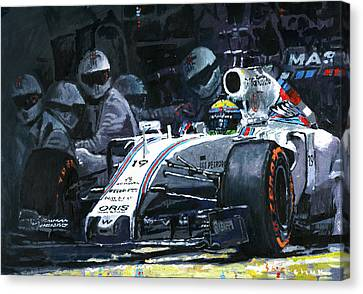 2015 Williams Fw37 F1 Pit Stop Spain Gp Massa  Canvas Print by Yuriy Shevchuk