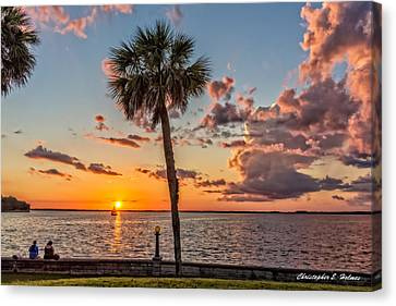Canvas Print featuring the photograph Sunset Over Lake Eustis by Christopher Holmes