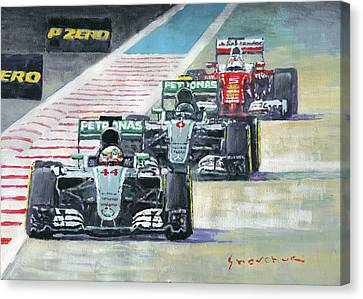 2016 Abu Dhabi Gp Mercedes Hamiltom Rosberg Ferrari Vettel Canvas Print