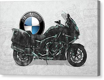 Canvas Print featuring the digital art 2016 Bmw-k1600gt Motorcycle With 3d Badge Over Vintage Blueprint  by Serge Averbukh