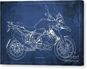 2016 Bmw R1200gs Blueprint Blue Background Canvas Print by Pablo Franchi