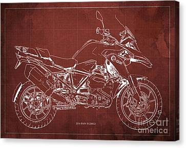 2016 Bmw R1200gs Blueprint Red Background Canvas Print by Pablo Franchi