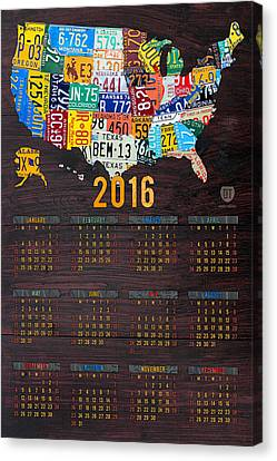 2016 Calendar License Plate Map Of The Usa Recycled Wall Art Canvas Print