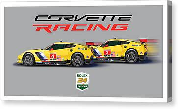 2016 Daytona 24 Hour Corvette Poster Canvas Print