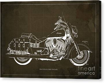 2016 Indian Chief Vintage Motorcycle Blueprint, Brown Background Canvas Print by Pablo Franchi