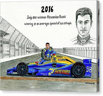 2016 Indy 500 Winner Alexander Rossi Canvas Print