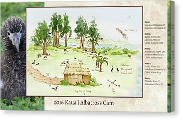 2016 Kauai Albatross Cam Map Canvas Print by Elizabeth Smith