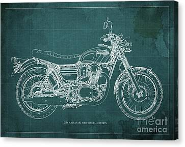 2016 Kawasaki W800 Speciaol Edition Blueprint Green Background Canvas Print by Pablo Franchi