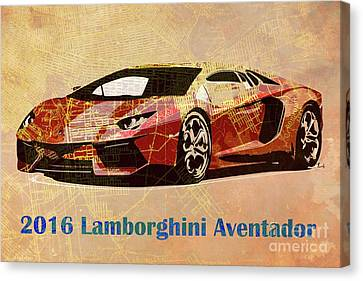 2016 Lamborghini Aventador On Old Brooklin 1898 Map  Canvas Print