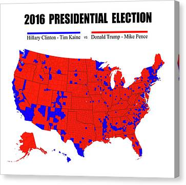 2016 Trump - Pence Vs Clinton - Kaine Election Map - No Border Canvas Print by Daniel Hagerman