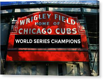 2016 World Champions - Wrigley Field Sign Canvas Print by Stephen Stookey