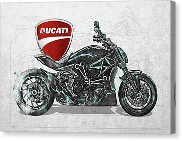 Canvas Print featuring the digital art 2017 Ducati Xdiavel-s Motorcycle With 3d Badge Over Vintage Blueprint  by Serge Averbukh