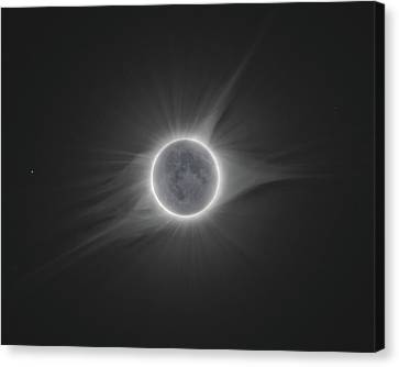 Solar Eclipse Canvas Print - 2017 Eclipse With Earth Shine by Dennis Sprinkle