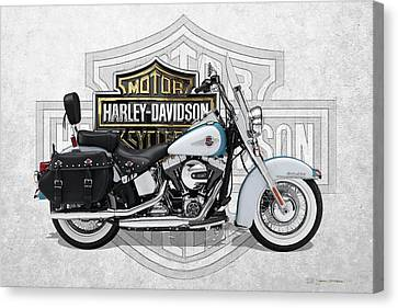 Canvas Print featuring the digital art 2017 Harley-davidson Heritage Softail Classic  Motorcycle With 3d Badge Over Vintage Background  by Serge Averbukh
