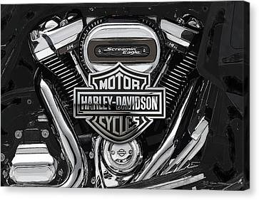 Canvas Print featuring the digital art 2017 Harley-davidson Screamin' Eagle Milwaukee-eight 114 Engine With 3d Badge by Serge Averbukh