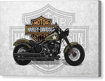 Canvas Print featuring the digital art 2017 Harley-davidson Softail Slim S Motorcycle With 3d Badge Over Vintage Background  by Serge Averbukh