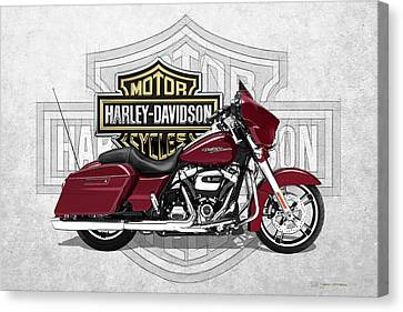 Canvas Print featuring the digital art 2017 Harley-davidson Street Glide Special Motorcycle With 3d Badge Over Vintage Background  by Serge Averbukh