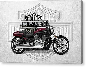 Canvas Print featuring the digital art 2017 Harley-davidson V-rod Muscle Motorcycle With 3d Badge Over Vintage Background  by Serge Averbukh