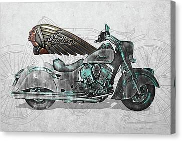 Canvas Print featuring the digital art 2017 Indian Chief Classic Motorcycle With 3d Badge Over Vintage Blueprint  by Serge Averbukh