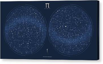 2017 Pi Day Star Chart Azimuthal Projection Canvas Print