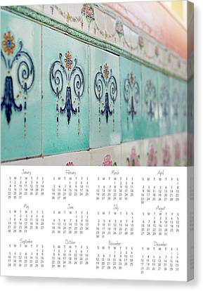 Canvas Print featuring the photograph 2017 Wall Calendar Blue Ceramic Tiles by Ivy Ho