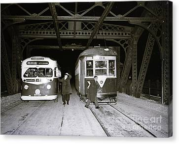 Canvas Print featuring the photograph 207th Street Crosstown Trolley by Cole Thompson