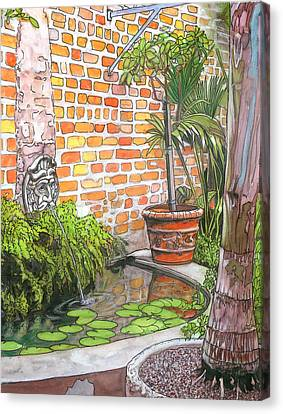 21   French Quarter Courtyard With Reflection Pool Canvas Print by John Boles
