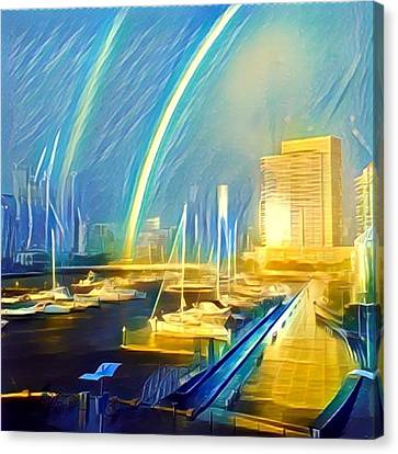 Docklands Double Rainbow Canvas Print by GabyDuval Image and Design