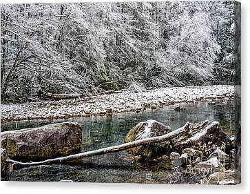 Canvas Print featuring the photograph Winter Along Cranberry River by Thomas R Fletcher