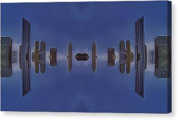 22nd Century Floating Cities Concrete Canyons Canvas Print by Thomas Woolworth