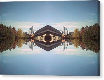 22nd Century Floating Cities Lovers Leap Canvas Print by Thomas Woolworth