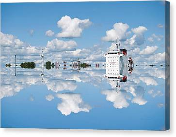 22nd Century Floating Cities Power Management Complex Canvas Print by Thomas Woolworth