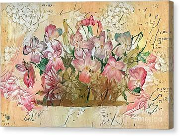 Victorian Canvas Print - Shabby Chic Botanical Flowers by Amy Cicconi