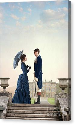 Canvas Print featuring the photograph Victorian Couple  by Lee Avison