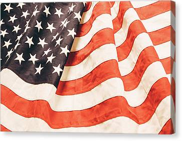 Canvas Print featuring the photograph American Flag by Les Cunliffe