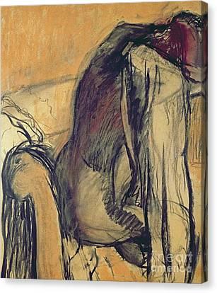 Degas Canvas Print - After The Bath by Edgar Degas