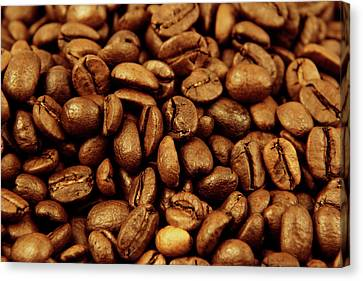 Canvas Print featuring the photograph Coffee Beans by Les Cunliffe