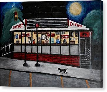 24 Hour Diner Canvas Print by Victoria Lakes