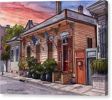 25  French Quarter House With 3 Flags Canvas Print by John Boles