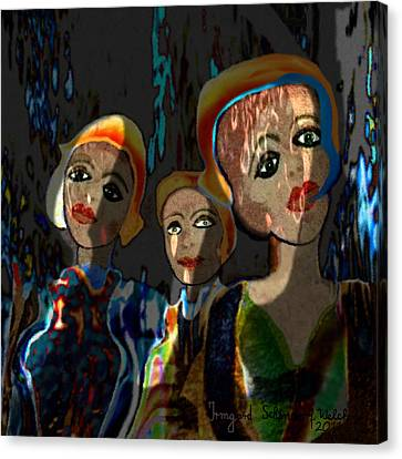 252 - Three Young Girls    Canvas Print
