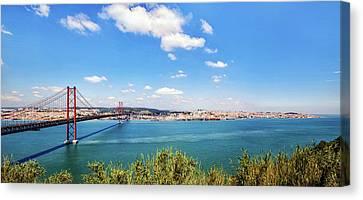 Canvas Print featuring the photograph 25th April Bridge Lisbon by Marion McCristall