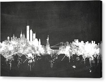 Poster Board Canvas Print - New York Skyline by Michael Tompsett